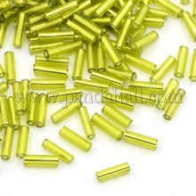 1 Pound YellowGreen 6mm Sliver Lined Glass Bugle Seed Beads