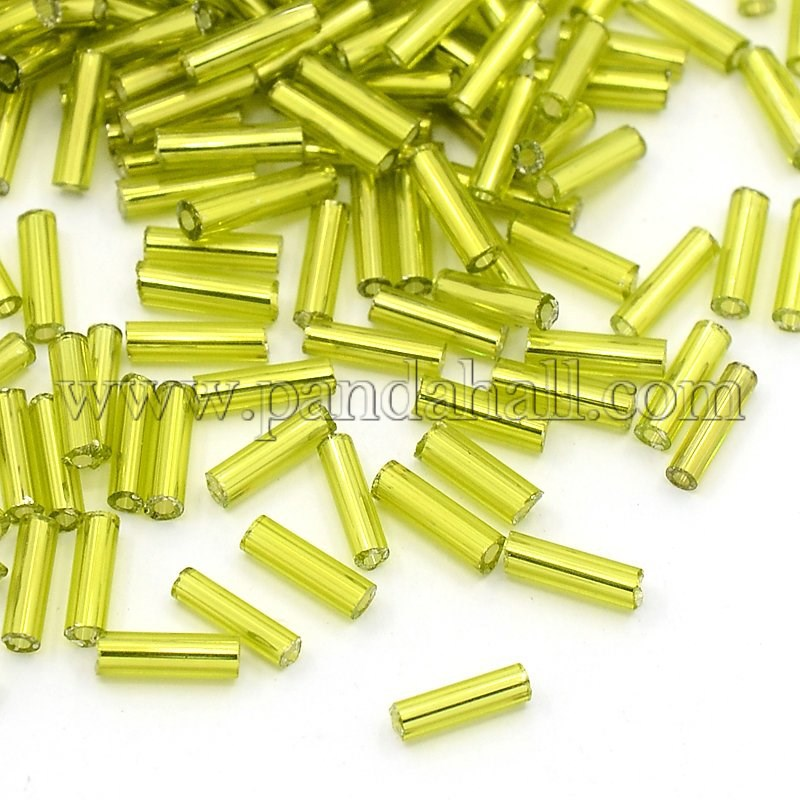 Transparent Glass Sliver Lined Bugle Seed Beads Wholesale about 10000pcs/pound(TSDB6mm24)