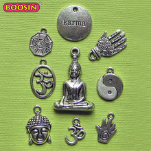 Antique Silver Inspirational Jewelry Yoga Pendant Buddha charms #D221