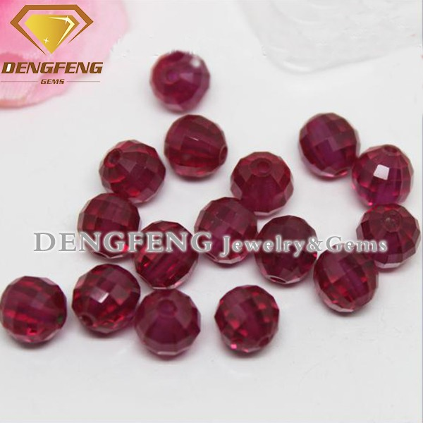 Lab Created Faceted Cut Red Corundum Stone Ball