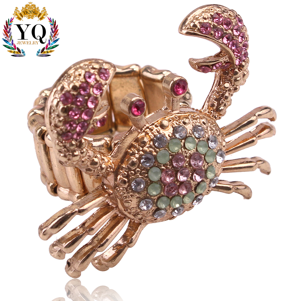 RYQ-00154 2017 special design gold plated animal finger ring with colorful rhinstone unique smart crab young teens ring