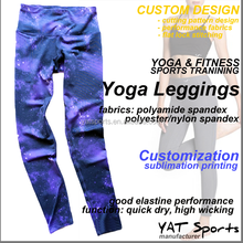Yoga wear blue Melange color Custom design pattern printed yoga leggings