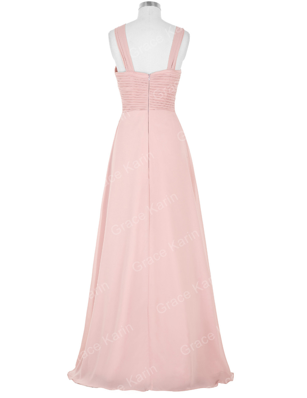 Grace Karin 2016 Sleeveless Full-Length Light Pink Long Chiffon weddings bridesmaid dresses GK000074-1
