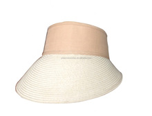 Ladies double color paper braid straw summer hat, visor hats with big brim
