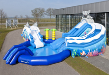 giant inflatable wet slide/ commercial grade inflatable water slide with pool/WATERPARK DOLPHIN AND ELEPHANT