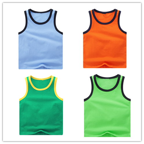 Wholesale kids contrast color short sleeve summer tank top