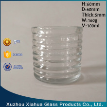 100ml 60*60 Ribbed glass candle holder