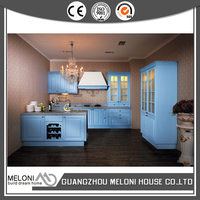 light blue high quality pvc kitchen designs with drawer basket
