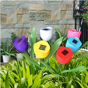 Tulip Flower Shape Solar Powered LED Lamp Outdoor Yard Garden Lawn Path Lighting