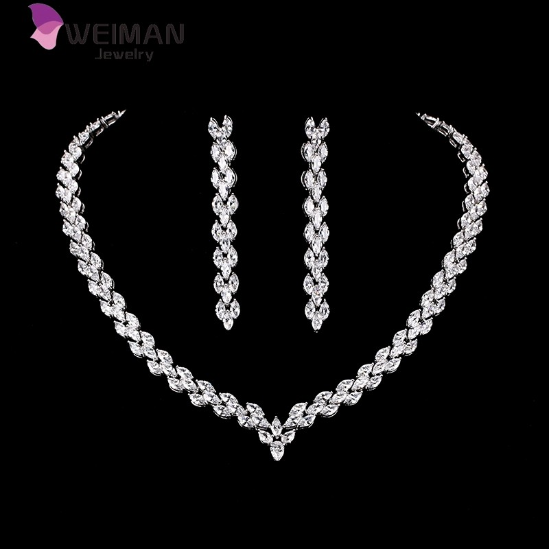 Marquise Cut Cubic Zirconia Cz Necklace Bridal Wedding Jewelry With