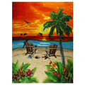 100% Cotton Setting Sun Chairs Printed Velour Beach Towel, 30 by 60-Inch