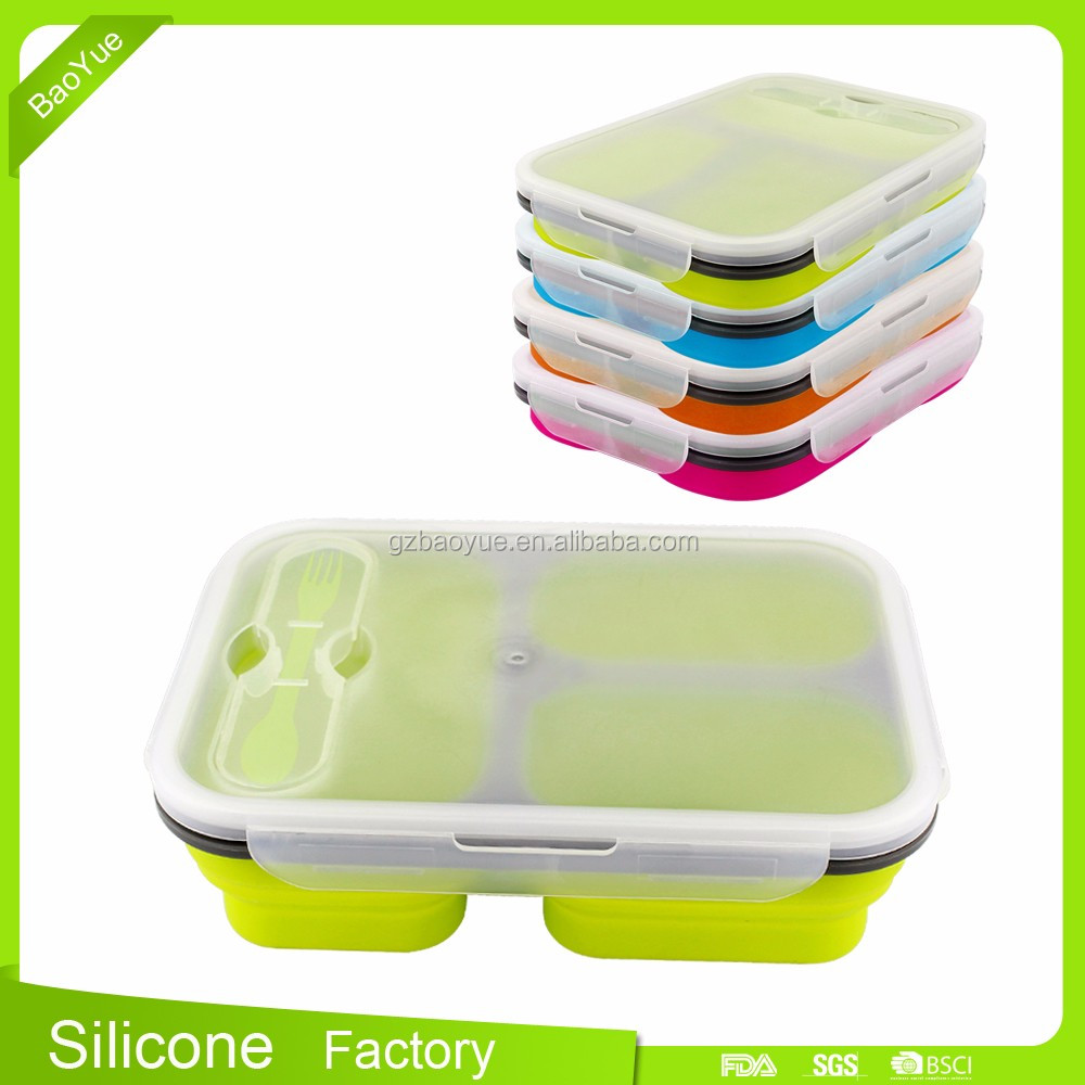 3 Compartment Bento Box / Durable Plastic lunch box food container BPA-Free Silicone Meal Prep and Portion Control