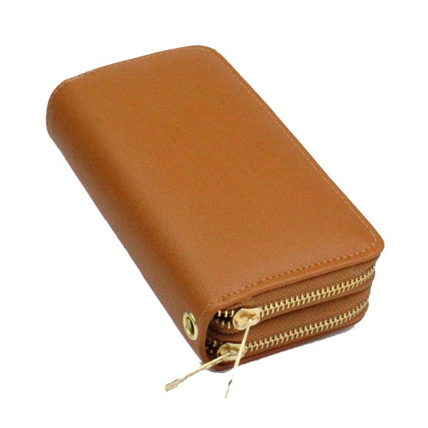 thickness 1.2mm 100% pu candy colors card holder leather ladies metal double zipper around wallets yiwu with wristlet
