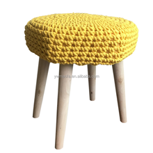 Wholesales Square Wooden Foot Stool With Crochet Cotton Cover Top Handmade Knitted Pouf Ottoman