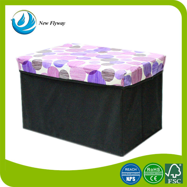 eco-friendly cheap oblong printed non woven ottoman with storage