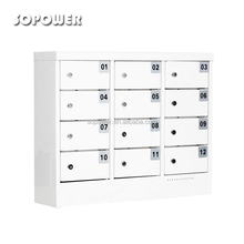12 door white hot sale cheap mobile cell phone lockers charging station