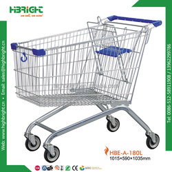 180L large metal European style supermarket shopping trolley