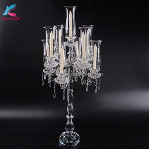 tall candle holder crystal glass hurricanes wedding candelabra