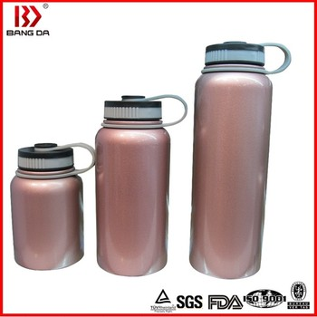 Wide mouth vacuum water bottle with hammer tone paint