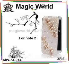 high quality pearl plum leather phone case for samsung galaxy note 2