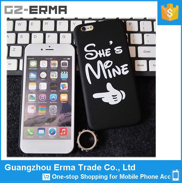 Manufacturer wholesale customized HE/SHE'S MINE creative PC Mobile Phone Cases Covers for iphone 6 plus