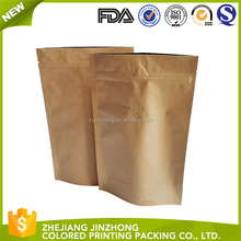 Custom Top zip lock Kraft paper Resealable plastic laminated aluminum foil stand up pouch packaging bag for snack