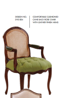 Comfortable Cushioned Cane Back Rose Chairs