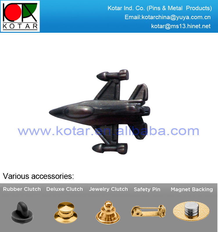Hot selling high quality 3d design airplane shaped metal lapel pin