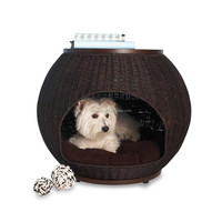 Igloo shaped cute indoor or outdoor garden multifunctional ratan table furniture rattan pet dog bed