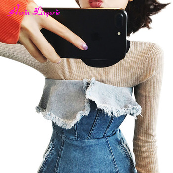 Amazon Hot Sale Spell color o neck long sleeves korean stock pullover sweater