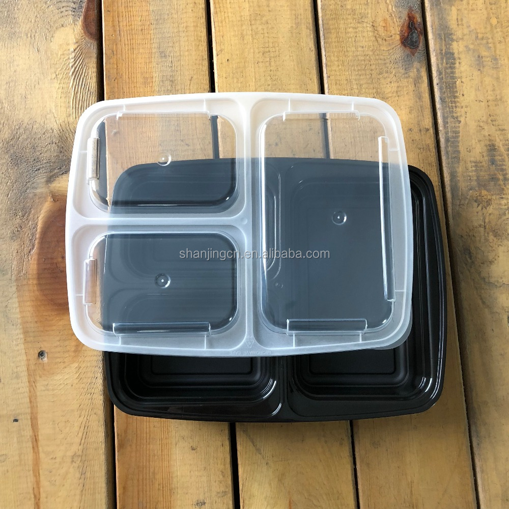 Meal Prep Containers, 3 Compartment, <strong>Plastic</strong>, 32oz