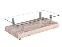 Home furniture clear tempered glass and mdf paper veneer base coffee table with wheels
