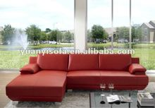 Modern furniture, red leather corner sofa with chaise lounge