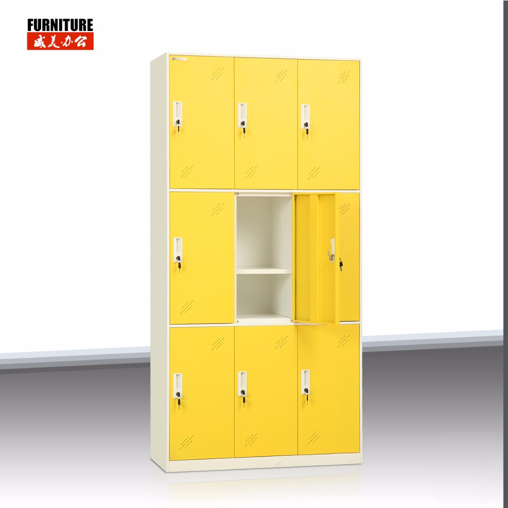 Unique design high quality safe steel lock 9 door locker with bench for bath center