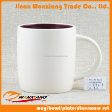 wholesale 11 oz inside wine color outside milk color two tone ceramic matt mug