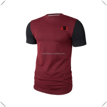 Cusom Slim fitting with contrasting color sleeves fitness Extended Tee with side split seam hem and with an extended back length