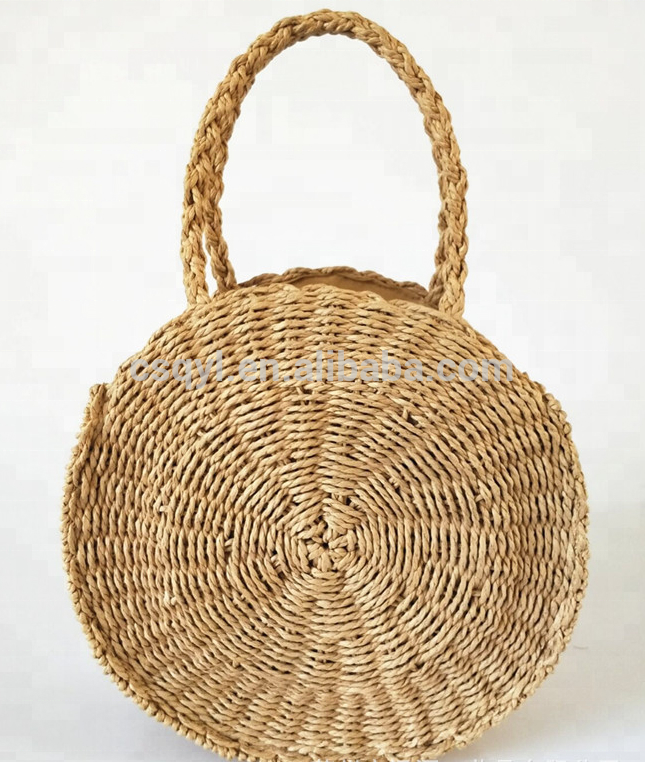 2018 best selling round straw bag girls tote woven bag wholesale