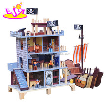 2017 New design pretend play pirate doll house wooden toys for boys W06A162-S