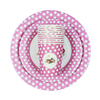 Factory Directly Provide Custom Printed Disposable Paper Plates Pink Polka Dot Party Plates