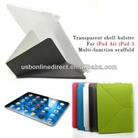 Transparent pu leather case for ipad air cover green case manufacturer