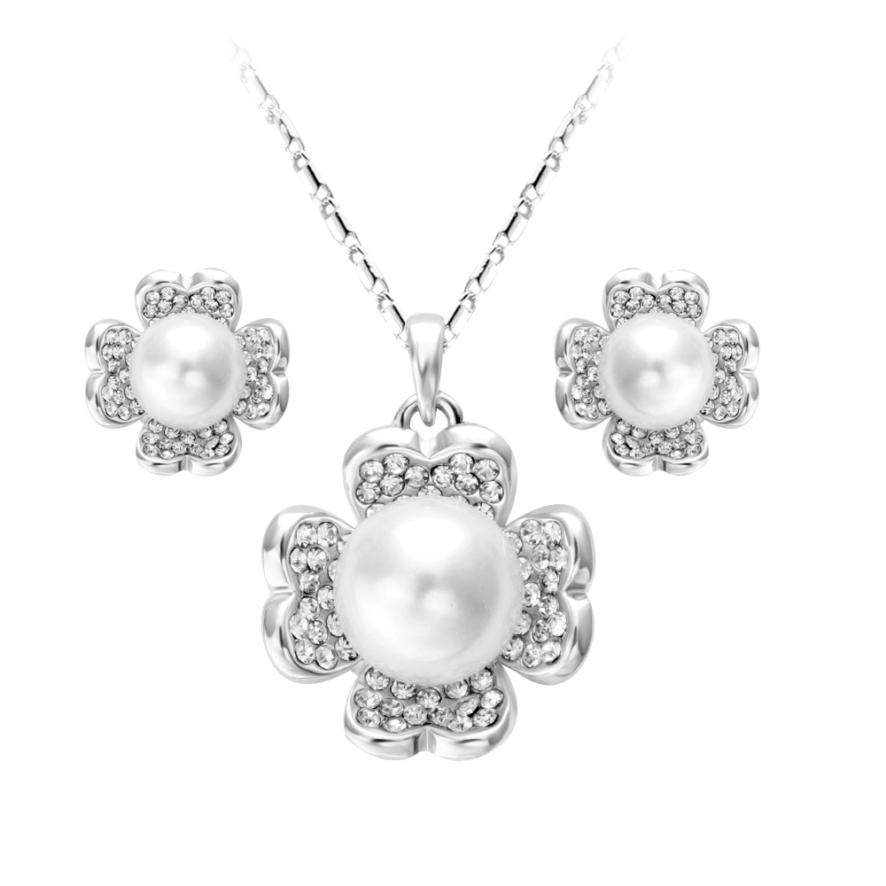 New arrival attractive cheap pearl necklace and earring set fancy silver plated crystal pearl necklace set