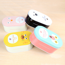 Colorful Printed Oval shape Small part storage metal tin box