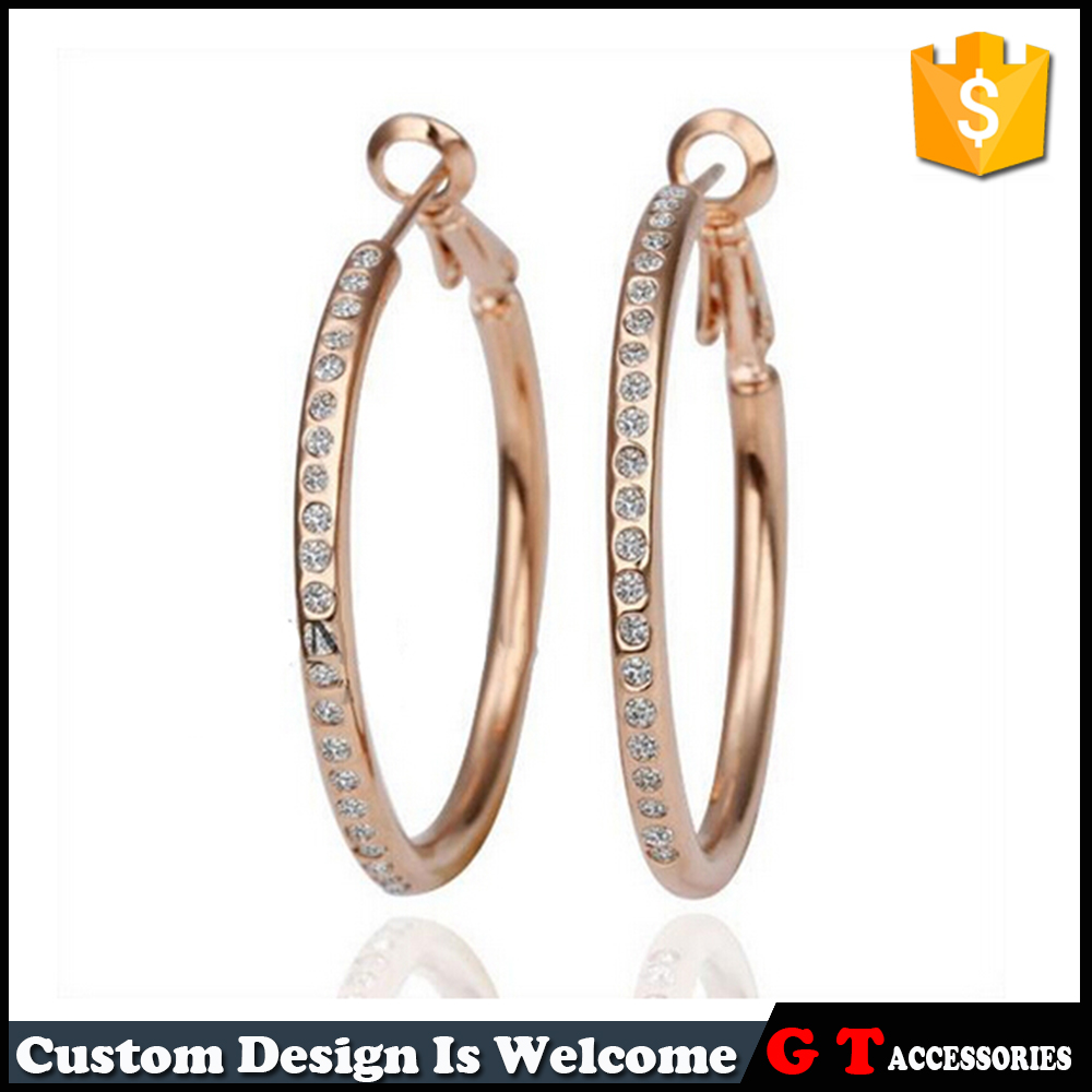 Wholesale Fashion Alloy Rose Gold And Silver Plated Crystal Women Large Plain Hoop Earrings