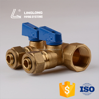Brass forged water manifold for floor heating
