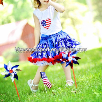 USA Patriotic 4th Of July Baby Girls Pettiskirts Red White Blue Star Pettiskirt