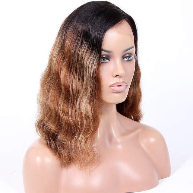 2018 Premier Hot Sale Indian Remy Hair Ombre Blond Wet And Wavy Cheap Lace Front Wig