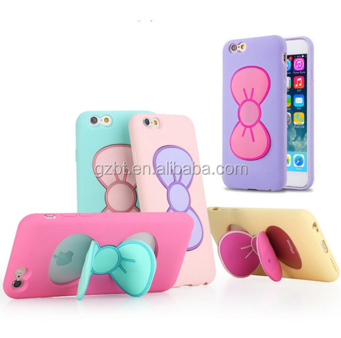 3D Soft Silicone Cute Lovely Butterfly Bow Stand Holder Case Cover For lenovo a538