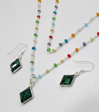 R0198 custom design green rosary style cheap pearl necklace and earring set