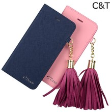C&T Tassels Credit Card Slots Flip Cover Folio Magnetic Case Stand Leather For iPhone 6 4.7