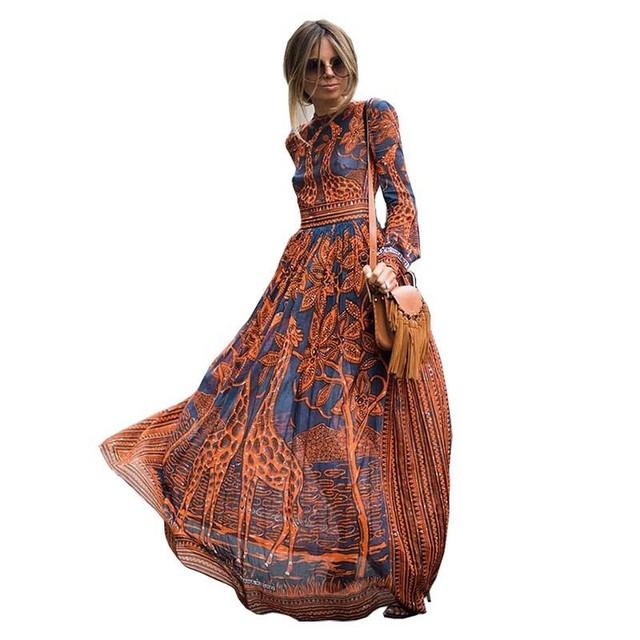 New style Round Neck long Sleeve Flower Print Ladies' Long fashion Elegant orange Dress